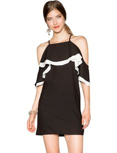 Spaghetti strap strapless black and white patchwork fifth sleeve ruffle a-line one-piece dress