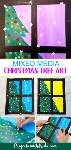 Kids will love creating this beautiful Christmas tree art project using a mixed media approach. Fun and easy techniques make this a wonderful Christmas craft activity! Xmas Kids will love creating this beautiful Christmas tree art project Kids Crafts, Preschool Christmas Crafts, Christmas Art Projects, Winter Art Projects, Christmas Tree Painting, Colorful Christmas Tree, Christmas Crafts For Kids, Beautiful Christmas, Christmas Trees