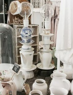 I found this in KC. I'm wondering if  Brandon could make me one. Vintage tea cups and tea pots lamps