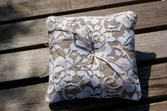 Vintage Ring bearer pillow with skeleton by Littlewhiteboutique, $21.00