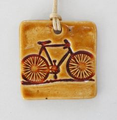 Bicycle Bike Ceramic Pendant on Waxed Cotton Cord in by BluMudd, $8.00