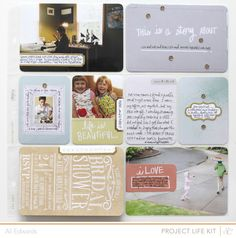 Love the framed photo on the 3x4 card and the journaling around the outside. Also a fan of the 3x4 card with the simple gold label and two sequins. The sequins really tie this one together.