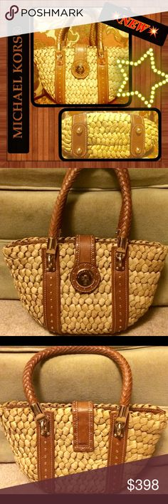 """MICHAEL KORS Santorini🌟OPEN FOR $ or TRADE OFFERS RARE from the Michael Kors® """"Santorini Collection"""" is a BEAUTIFUL, unique Raffia & Brown Leather MK accented w/Gold.🔹Photos DO NOT do justice for this bag!🔺Trying to confirm/deny if this was possibly an 'MK RUNWAY ED.' for this Collection.🔸Outside in perfect condition, inside, (made of canvas type fabric & can be cleaned professionally) shows wear on bottom (makeup, ink pen). The unique, circular turn lock keeps bag shut🔹Inside has 2…"""