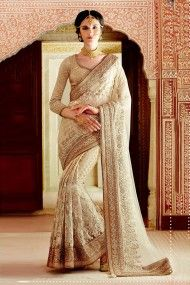 Net Designer Party Wear Saree In Off White Colour