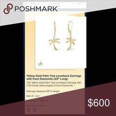 Na hoku Palm tree earrings 24k yellow gold/diamond Worn only once! Perfect condition - gift from an ex and no longer want them - comes with original box! Na hoku Accessories Jewelry