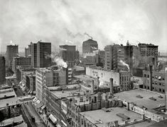 "Circa 1901. ""The Heart of Chicago."" An amazingly detailed (and smoky) tableau."
