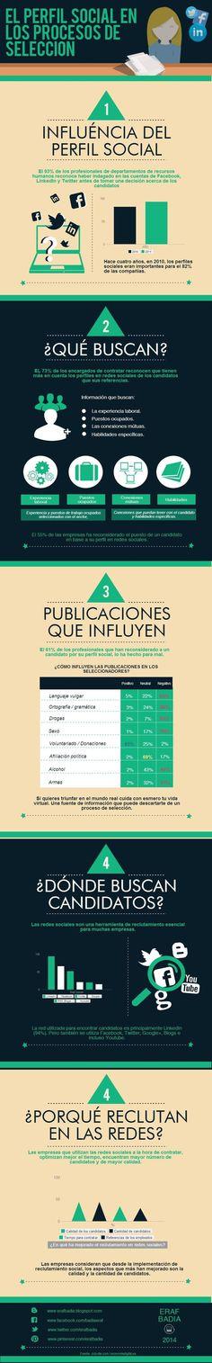 Redes Sociales en los procesos de selección #infografia #infographic #socialmedia #empleo