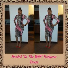 "✂️CUSTOM MADE Hooded ""In The Wild"" Bodycon Dress✂️ Wow the crowd when you wear my custom fitted dress!  Please specify the size that you want to purchase so that I can create a new listing to include your size.  Get'em Girl!!! C FARR DEZIGNZ Dresses"