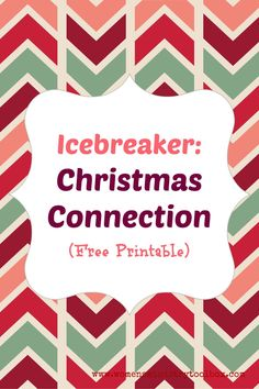 Icebreaker: Christmas Connection with Free Printable - Fun game perfect for your Women's Ministry, Youth, or Sunday School Christmas party! Christmas Party Games For Groups, Party Games Group, Funny Christmas Games, School Christmas Party, Christmas Games For Adults, Holiday Games, Adult Party Games, Birthday Party Games, Christmas Humor