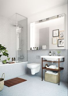 Duschvägg, inklaklat badkar. Vägghängs toalett. Another white #bathroom — #whitespaces #interiors