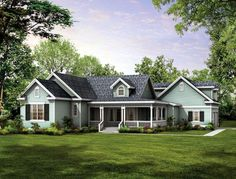 I like the layout, but the second and third bedrooms are small. Country   Farmhouse  Victorian   House Plan 90277