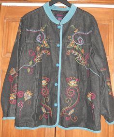 Womens Denim & Co Jean Barn Jacket Embroidered Paisley Button Down Teal Trim 1X  #DenimCo #JeanJacket