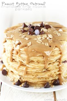 Pancakes that taste just like fresh from the oven peanut butter chocolate chip cookies! A yummy way to get your cookie fix for breakfast!