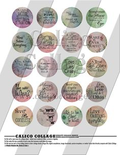 Words to Live By   Digital Collage Sheet  1.5x1.5 by calicocollage, $3.75