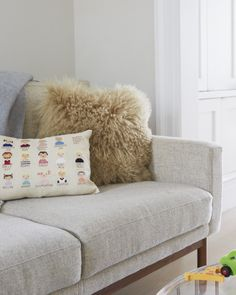 Cross-stitched family tree pillow.... brilliant and beautiful! via Cup of Jo