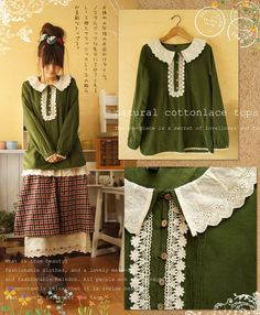 green sweater mori girl adore this collar and lace detail
