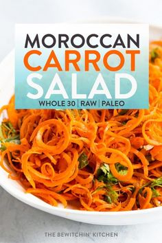 This moroccan carrot salad recipe is a healthy side dish that uses a spiralizer marinated raw carrots and fragrant spices. It's a fresh salad that uses a zesty vinaigrette (no mayonnaise) as it's dressing! It's a cleanse recipe that is Carrot Salad Recipes, Healthy Salad Recipes, Raw Food Recipes, Vegetable Recipes, Cooking Recipes, Vegan Desserts, Candida Recipes, Healthy Lunches, Vegan Meals