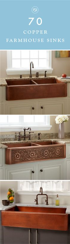 This collection of 70 Copper Farmhouse Sinks is sure to inspire you to think outside of the box when it comes to your kitchen finishings. With an antique feel to them, these copper basins help add charm to your renovation as well.