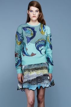 KENZO - FISH EMBROIDERED JACQUARD SWEATER