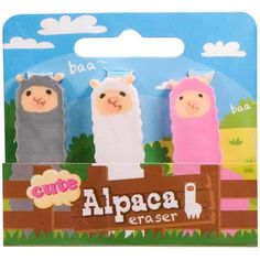 Alpaca - Trio Cutie Erasers Set Of 3 - now only $4.00!  #UnusualGifts #YouKnowYouWantIt #karmakiss #allgiftythings #UniqueGifts