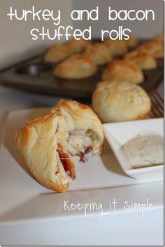 Turkey Leftovers Recipe Idea- Turkey and Bacon Stuffed Rolls #TasteTheSeason @keepingitsimple