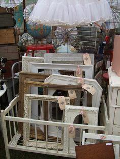 Crib of vintage frames at Barn House 2012