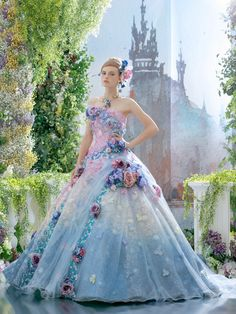 It's like the craziest version of the sleeping beauty dress when the fairies are fighting over the color