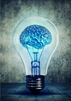 Lightbulb brain - Human brain glowing inside a light bulb. Blue shining lamp on gray background. Emergence of the idea, Eureka creativity concept - Brain Drawing, Brain Art, Brain Poster, Business Intelligence Tools, Light Bulb Art, Lamp Light, Gray Background, Framed Art Prints, Poster Prints