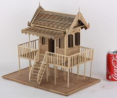 House Model Thai Architectural wood home 2 story Vintage old hand made detailed