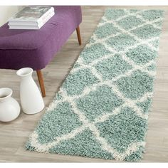 Dallas Shag Seafoam/Ivory 2 ft. 3 in. x 6 ft. Runner