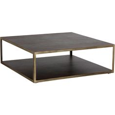 Underhill Modern Classic 2 Tier Brown Wood Brass Square Coffee Table ($1,998) ❤ liked on Polyvore featuring home, furniture, tables, accent tables, brown coffee table, square table, wooden table, chevron wood coffee table and square wooden coffee table