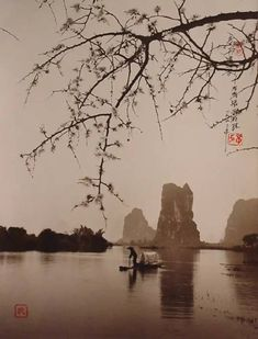 """Don Hong Oai (1929 - 2004), Fishing on Spring Morning, Guilin """
