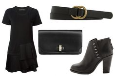Date-night outfit idea: an LBD, black accessories, and booties
