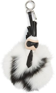 979b673fab29 Fendi  Pompom Karl  Genuine Fox Fur   Leather Bag Charm Fendi Bag Charm