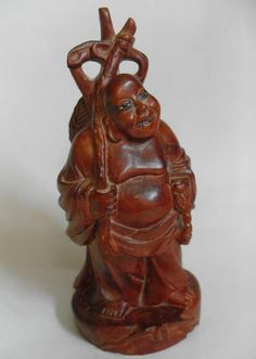 Vintage oriental carved woodenware male figure #10612