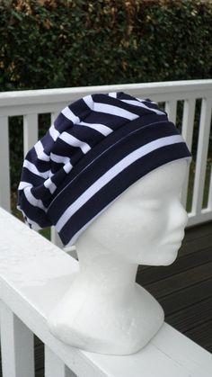 78eca809a520 Bonnet chapeau béret turban  cancer chimio   femme  confortable  bleu et  blanc