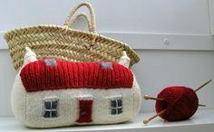Knitting pattern Scottish red roof croft house