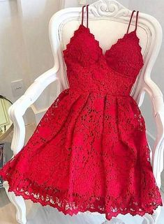 red lace sleeveless short school event dress applique v-neck homecoming dress sp. red lace sleeveless short school event dress applique v-neck homecoming dress spaghetti-straps backless evening dress party – Ball dresses – Red Lace Prom Dress, Cheap Homecoming Dresses, Hoco Dresses, Evening Dresses, Dress Red, Graduation Dresses, Formal Dresses, Short Red Prom Dresses, Quinceanera Dresses