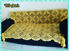 Uma linda colcha em croché. .. mas coloquei  no sofá... #wsartes