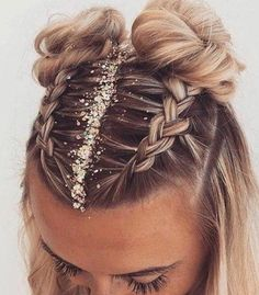 Fun and festive hairstyle for NYE by :: NYE Hairstyles for women NYE hair Hairstyle inspiration Hairstyles with glitter Topknot buns french braid hairstyles clip in extensions French Braid Hairstyles, Easy Hairstyles, Two Buns Hairstyle, Hairstyle Ideas, Hairstyles For Women, Style Hairstyle, Boxer Braids Hairstyles, Summer Hairstyles, Cute Hairstyles For Medium Hair