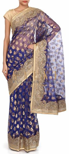 Buy Online from the link below. We ship worldwide (Free Shipping over US$100). Product SKU - 273615. Product Link - http://www.kalkifashion.com/navy-blue-saree-adorn-in-weave-and-zardosi-embroidery-only-on-kalki.html