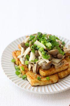 Healthy Japanese Recipes, Easy Asian Recipes, Healthy Dessert Recipes, Veggie Recipes, Ethnic Recipes, Japanese Food, Tofu Mushroom Recipe, Mushroom Recipes, Teriyaki Tofu