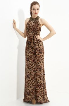 Rachel Zoe leopard-print halter gown.  I don't want to like this dress but, somehow, I do.
