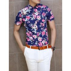 $15.87 Floral Print Short Sleeve Turn Down Collar Slimming Trendy Cotton Shirt For Men