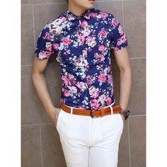 Men Short Sleeve Button Up Shirt Floral Flower Print Design Slim ...