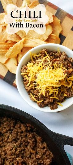 Keto Chili with Bacon. Perfect for meal prep!