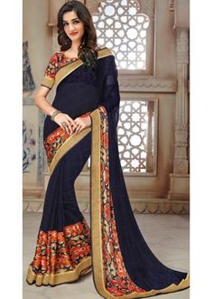Party Wear Blue Marble Georgette Saree  - 11348