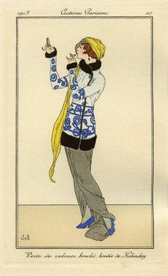 """Veste de velours broché, bordée de Kobinskey"", by Jan Van Brock, Costumes parisiens, 1913"