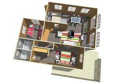 :: CASUR :: - Casas Prefabricadas Modelo Coliumo 3000 Mountain Ranch House Plans, House In The Woods, Ideas Para, Bookcase, Wood Houses, Tiny Houses, Cabin Ideas, Mario, Home Decor