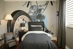 Amazing Harley Davidson Wall Murals Stickers for Small Bedroom Interior Decorating Design Ideas Small Bedroom Interior Design Ideas with Mod. Wall Murals Bedroom, Kids Room Murals, Bedroom Decor, Bedroom Ideas, Kids Rooms, Pop Design, Design Ideas, Davidson Homes, Harley Davidson